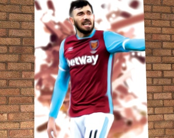 Robert Snodgrass - West Ham - Robert Snodgrass Painting Poster Digital Print - The Hammers - Robert Snodgrass Illustration