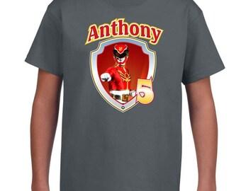 Custom Red POWER RANGER Birthday Shirt Youth Short Sleeve Tshirt-  MegaForce Troy Inspired