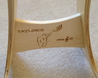 Wood Guitar Stand with Acoustic Guitar Logo.  FREE SHIPPING!!!