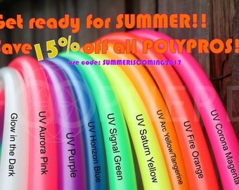 "Polypro Hoop sizes 24""-40"" - Collapsible PolyPro Hula Hoop - UV Colors and Glow in the Dark! Poly Pro Authentic Neons"