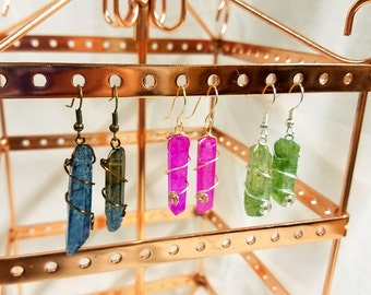 Dangling Wrapped Crystal Earrings