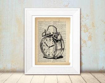 Book art print, Alarm clock, Clock print, DIY home decor, Bedroom decor, Office decor, Christmas gifts