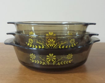 Set of 3 Glasbake Round Glass Casserole Baking Dishes ~ Smoke Brown Yellow Daisy ~ Vintage Ovenware (similar to pyrex)
