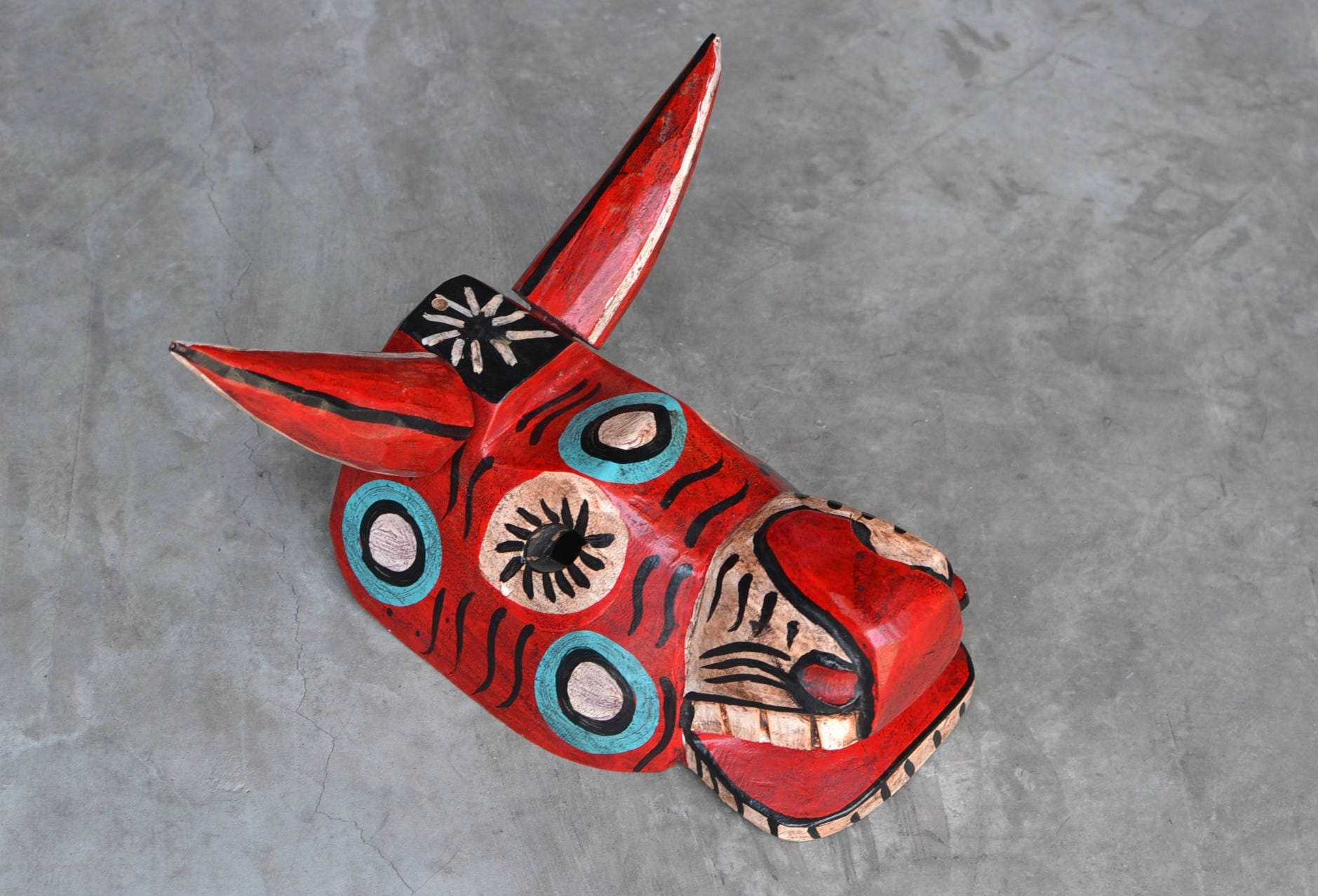 traditional red bull mask hand carved hand painted from. Black Bedroom Furniture Sets. Home Design Ideas