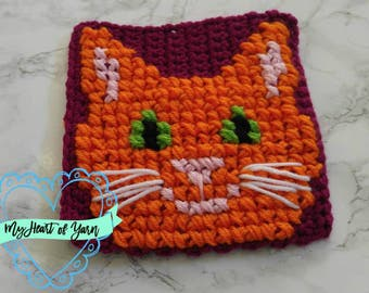 Crochet and Cross Stitch Kitty Charm Square