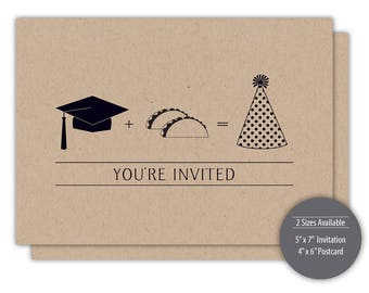 Taco 'Bout a Future Graduation Party Invitation - Personalized Printable - Kraft --- #C252-I