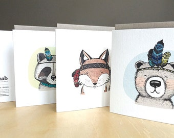 Gift Card Pack of 3 Assorted - Spirit Animals