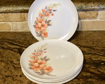 Vintage 1950s Melmac Dinnerware • Mar- Crest Dinner Plates Set of 6 • Golden Dawn Peach Colored Blossoms - Mid Century Modern - Made in USA