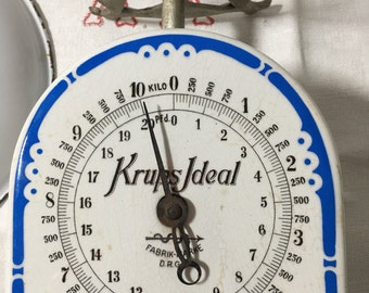 scale, weighing scale, porcelain scale, scale kitchen, french scale, enamel scale,Krups scale, krups