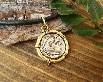 Coin Pendant Leather Necklace, Ancient Alexander the Great Style Silver and Gold Pewter Coin Charm, Custom Unisex Necklace, Medallion