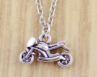 Silver Motorcycle Necklace | Silver Motorcycle Charm Necklace | Silver Motorcycle Jewelry | Womens Motorcycle Gift | Sweet Ride Accessories