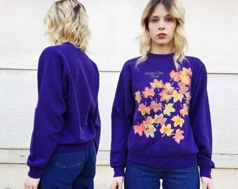 Vintage 90s Jerzees Purple Orange Maple Leaf Perkins Cove Maine Sweatshirt S