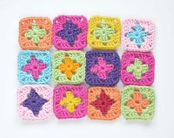 Set of 12pcs Crochet appliques 3.6cm - Granny Square -  Crochet motif - Embellishment