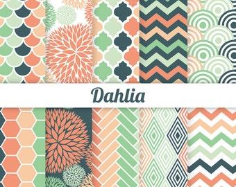 Dahlia Digital Paper - Coral Navy Green Digital Paper