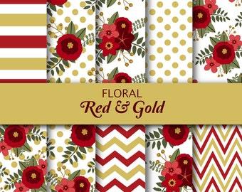 Floral Digital Paper - Flower Paper - Red Holiday - Christmas Floral Digital Paper - Red Flowers - Red Floral - Digital Paper