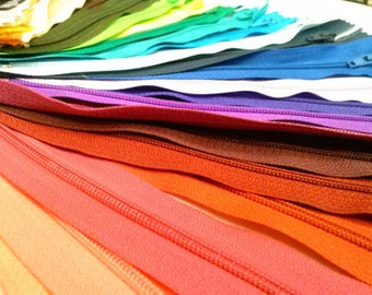 50 Nylon Zippers 20 Inches Coil #3 Closed Bottom Assorted Colors