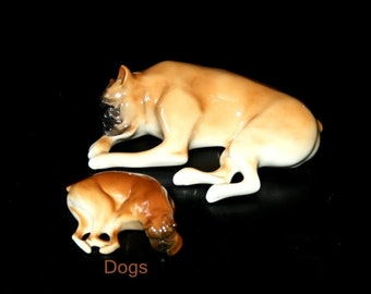 Boxer with a puppy dog porcelain figurine handmade statuette