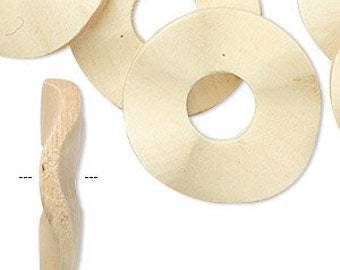 White Wavy Donuts, Wood Donut, inside hole 9mm, 33mm donut, 4 each, D986