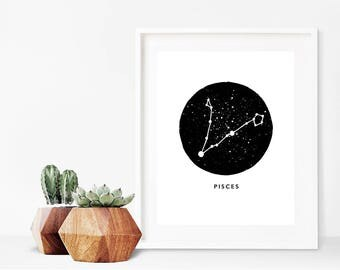 Pisces Zodiac Luxury Pen & Ink Illustration Print - A5 or A4