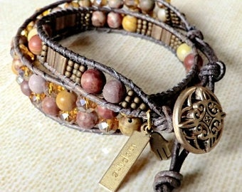 Handmade brass, gold and brown double wrap beaded bracelet