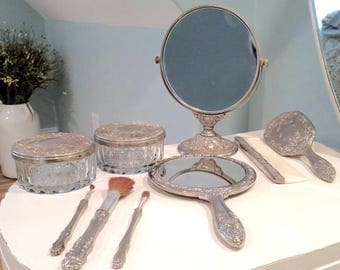 Vintage Vanity Set, Handheld Makeup Mirror, Standing Makeup Mirror, Powder Jars, Comb, Brushes- Floral Pattern Design