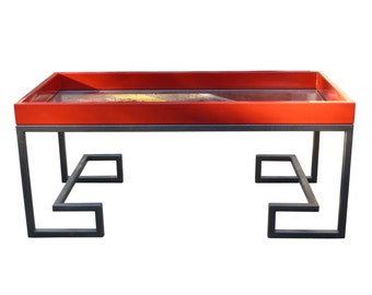 Vintage Enameled Steel And Glass Coffee Table