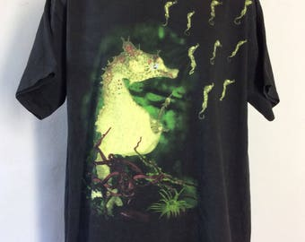 Vtg 1993 Nirvana All Apologies Seahorse T-Shirt Black XL 90s Grunge Alternative Rock Band Kurt Cobain