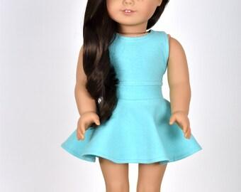 Skater Skirt Color Mint/Aqua 18 inch doll clothes