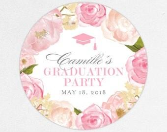 Graduation Favor Labels, Graduation Stickers, Printed Graduation Labels, Graduation Tag, Girl Graduation, Pink, Watercolor, Flowers, Camille