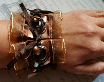 Steampunk Lace Ruffle Cuff With Copper Colour Metal Details And Brown Ribbon Bows, Jewellery, Bracelet, Accessories, Gift, Girlfriend, Wife