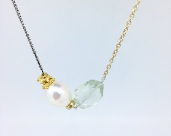 Asymmetrical Pearl and Green Amethyst Necklace