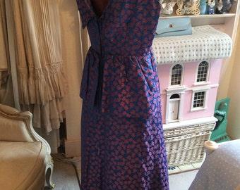 1950s blue/pink evening dress M-L