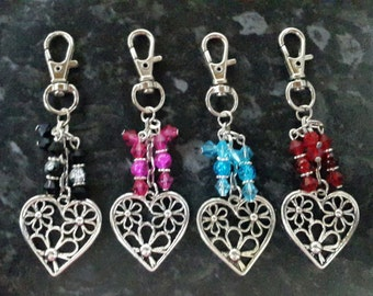 Heart flower bag charm, keyring. Perfect gift. Your choice of colours