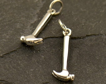 Sterling Silver, Hammer Charm, Tiny Tool Charm, Tool Charm, Handyman, Handyman Charm, Carpenter Charm, Tough as Nails, Tool Jewelry