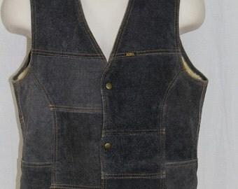 On Sale Vintage LEE Sherpa Lined Blue Suede Patchwork RETRO Trucker Western Vest M