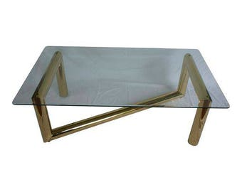 Awesome Karl Springer Style Brass U0026 Glass Coffee Table