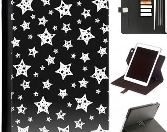 white star pattern Apple ipad 360 swivel i pad leather case cover with card slots