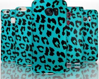 BG0011 Plastic hard case print, personalized/ custom/ personalised phone protective case leopard print blue turquoise