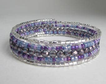 Memory Wire Bracelet in purple, silver and grey, Memory Wire Wrap Bracelet, gift for her, purple beaded wrap bracelet, Free Shipping