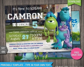 monsters university invite 50 off instant download monsters inc printable birthday