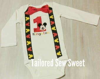Mickey Mouse Onesie/Shirt /Boys/ Holiday Onesie/ Bow Tie and Suspenders Onesie