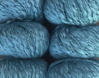 Tahki ROSA 9.50 +.99ea to Ship 100% Cotton Yarn Aran Weight, Denim 017 Blue, Cushy Soft, Thick & Thin, Sheen, Drape MSRP 10.95