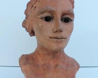 Art Handmade Terracotta Female Decorative  Signed Sculpture .
