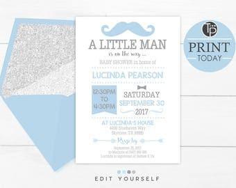Baby Blue LITTLE MAN Baby Shower Invitation, Instant Download Invitations, Little Man Baby Shower, Boy Baby Shower, Blue Boy Baby Shower