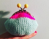 Coin purse/make up pouch. Neon pink and mint with yellow clasp! Great gift for ladies and kids!!!!