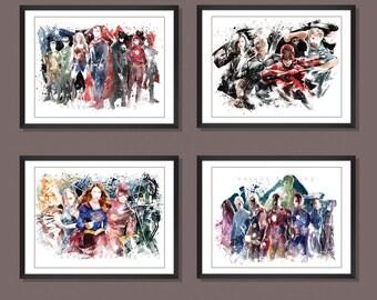 Superhero poster,Avengers poster,Superman,Batman,Wonder woman,Supergirl,Daredevil,Kids Decor print,Superhero wall art,Set of 4 prints,3597