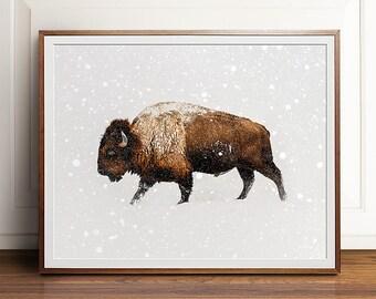 Buffalo print, Buffalo art, PRINTABLE art, Landscape print, Landscape photography, Animal print, Bison print, Bison art, Photography prints