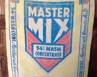 Master Mix Feed Bag/Sack McMillen Feed Mills Vintage Feed Bag