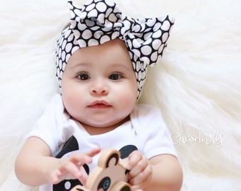 LIZZY Headwrap, black polka head wrap, Newborn Headwrap, Fabric Headwraps, black Headwrap, Toddler Headwrap,  baby headwrap