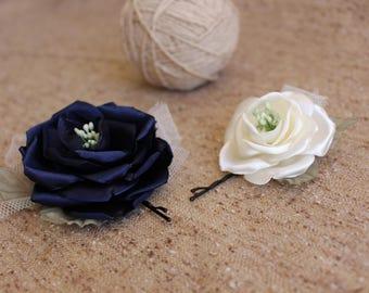 Navy blue ivory rose hair pin,rose hair bobby pin,Rose Bridal Hair Pins,Bridesmaid Rose Hair Pins,Women Girls flower hair pin,Set 2 hair pin